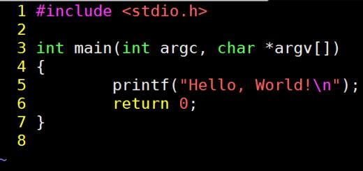 programma hello world in C